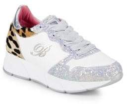 Blumarine Leopard Dyed Calf Hair & Glitter Leather Sneakers