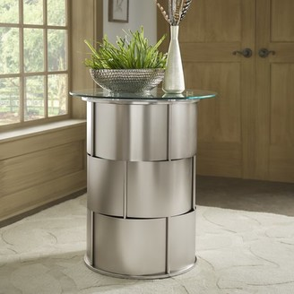 Weston Home Bayport Round Glass Entryway Accent Table With Metal Base