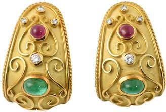 One Kings Lane Vintage Byzantine-Style Gold & Gemstone Earrings - Owl's Roost Antiques