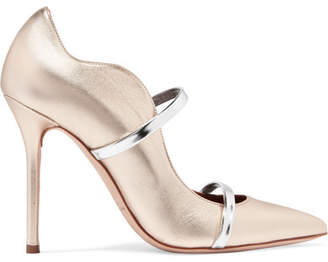 Malone Souliers by Roy Luwolt Maureen Metallic Leather Pumps - Gold
