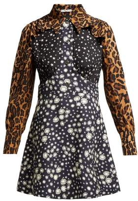 Miu Miu Leopard Print Contrast Panel Silk Dress - Womens - Navy Multi