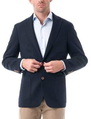 Verno Big Men's Dark Navy Quilted Textured Wool Classic Fit Blazer