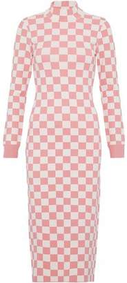 House of Holland Checked Intarsia-Knit Dress