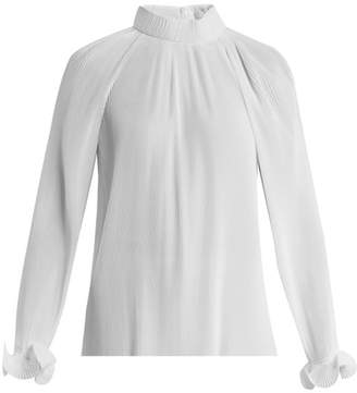 Tibi Pleated High Neck Blouse - Womens - White