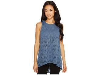 Vince Camuto Specialty Size Petite Sleeveless Herringbone Lace High-Low Hem Blouse Women's Blouse