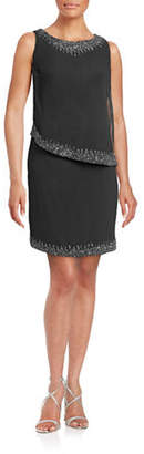 J Kara Beaded Asymmetrical Popover Dress