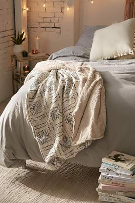 Cozy Nomad Mudcloth Faux Fur Throw Blanket