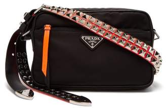 Prada Stud Embellished Nylon Cross Body Bag - Womens - Black Orange