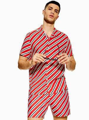 Topman Red Diagonal Stripe Swim Shorts