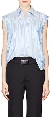 Prada Women's Striped Silk Sleeveless Blouse - Blue