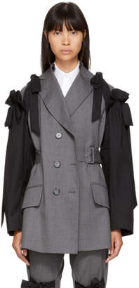 Simone Rocha Grey and Black Bows Belted Blazer