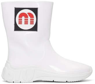 Miu Miu White Patent Logo Rain Boots