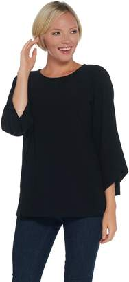 Dennis Basso Caviar Crepe Ballet-Neck Top with Tulip Sleeves