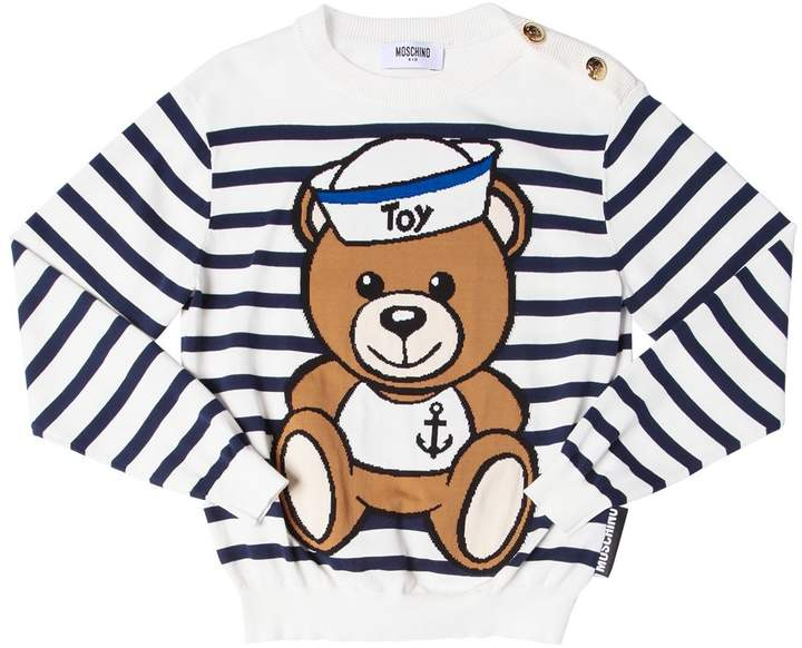 Bear Intarsia Stripe Cotton Knit Sweater