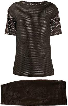 Gianfranco Ferre Pre-Owned embroidered top and skirt suit