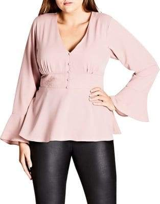 City Chic Plus Long Bell Sleeve Button-Up Top