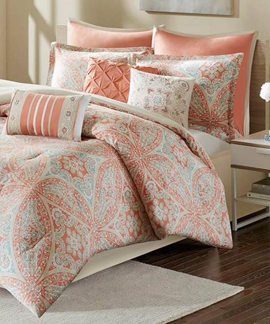 Coral Arabesque Nine-Piece Cotton Sateen Comforter Set