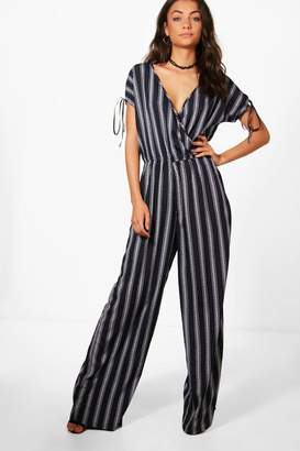 boohoo Tall Wrap Front Wide Leg Jumpsuit