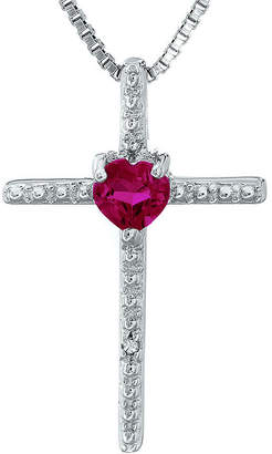 Silver Cross FINE JEWELRY Lab-Created Ruby and Diamond-Accent Sterling and Heart Pendant Necklace