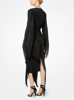 Michael Kors Fringed Stretch-Cady Plunge Dress