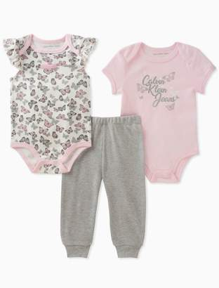 Calvin Klein baby girls 2-pack butterfly onesies + leggings
