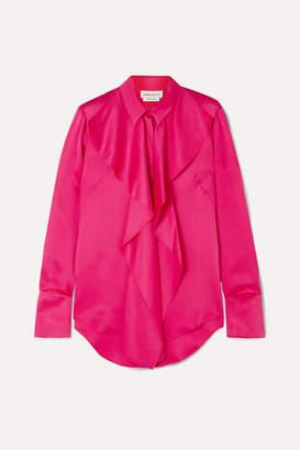 Alexander McQueen Draped Silk-satin Blouse - Pink