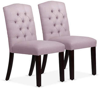 One Kings Lane Set of 2 Lea Tufted Side Chairs - Lilac Linen