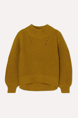 J.Crew Pointelle-trimmed Ribbed Cotton Sweater - Yellow