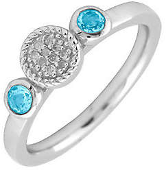 Simply Stacks Sterling & Double Round Blue Topa z Diamond Ring