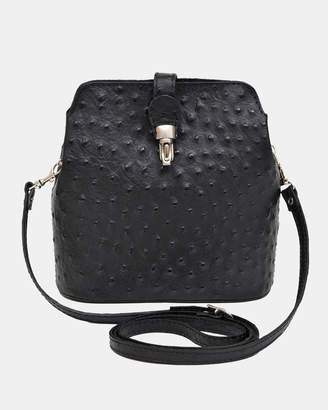 Gemma black Ostrich Embossed Italian Leather Cross-Body Bag