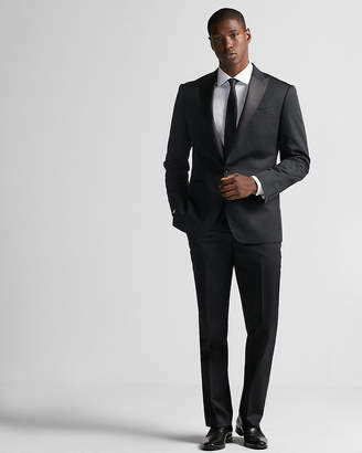 Express Classic Black Cotton Sateen Tuxedo Jacket