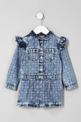 Next Girls River Island Denim Washed Print Playsuit