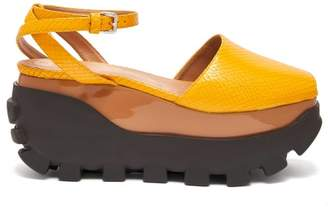 Marni Python Effect Leather Flatform Sandals - Womens - Yellow