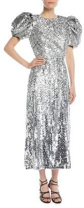 Carolina Herrera Short Puff-Sleeves Embellished Paillette Fitted Evening Gown