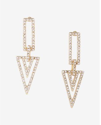 Express Embellished Triangle Drop Earrings $19.90 thestylecure.com