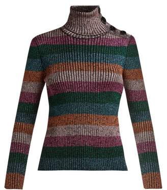 RED Valentino Metallic Striped Roll Neck Sweater - Womens - Pink Multi