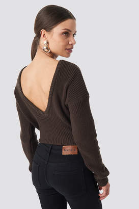 NA-KD Na Kd Knitted Deep V-neck Sweater Beige