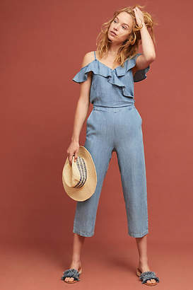 Michael Stars Ruffled Open-Shoulder Jumpsuit