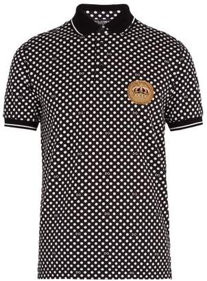 Dolce & Gabbana Polka Dot Print Cotton Pique Polo Shirt - Mens - Black