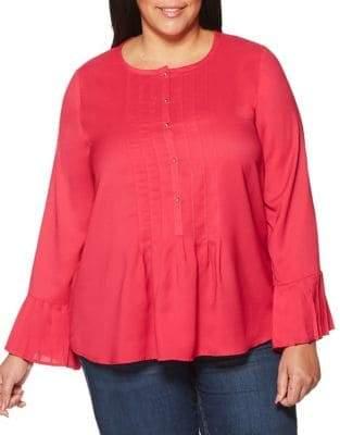 Rafaella Plus Long Sleeve Pleated Blouse