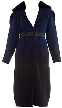 Fendi Women's Mink Collar Ombré Cashmere & Wool Duster Cardigan