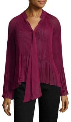 Derek Lam Long-Sleeve Pleated Blouse