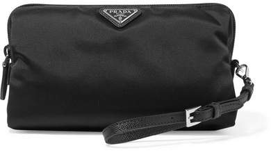 prada Prada - Vela Textured Leather-trimmed Shell Cosmetics Case - Black