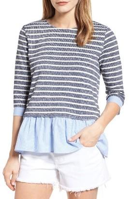 Women's Thml Contrast Ruffle Trim Stripe Sweater $103 thestylecure.com