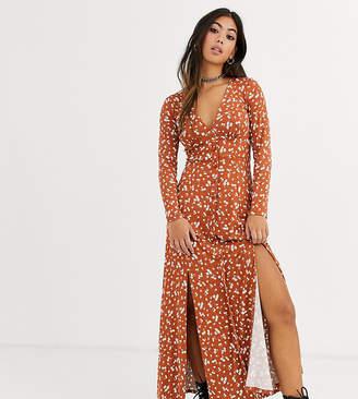 Asos DESIGN Petite long sleeve button through maxi tea dress with splits in ditsy print
