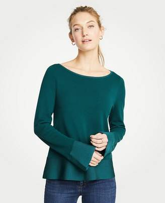 Ann Taylor Petite Boatneck Flare Sleeve Milano Sweater