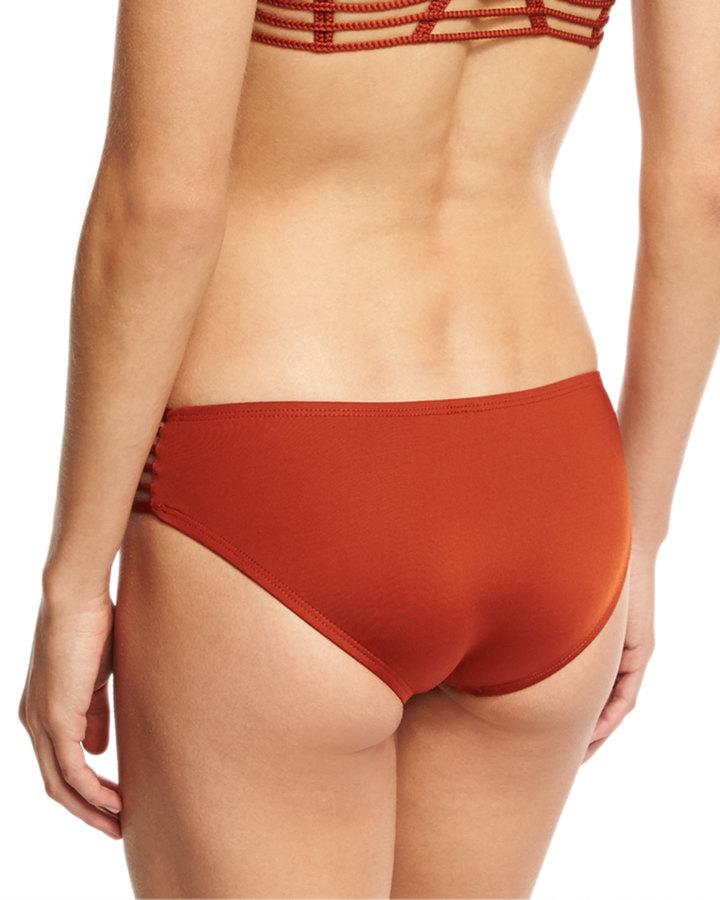 Vitamin A Jaydah Strappy Braided Swim Bottom, Metallic Orange 2
