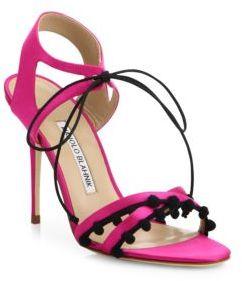 Manolo Blahnik Esparra Pom-Pom Front-Tie Sandals $795 thestylecure.com