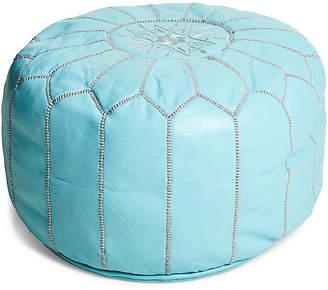 One Kings Lane Moroccan Pouf - Mint/Gray Leather