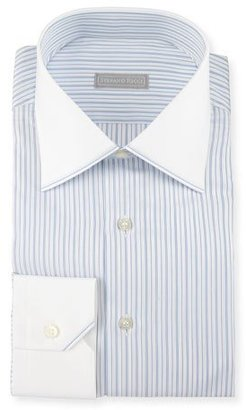 Stefano Ricci Contrast Collar/Cuff Striped Dress Shirt $750 thestylecure.com